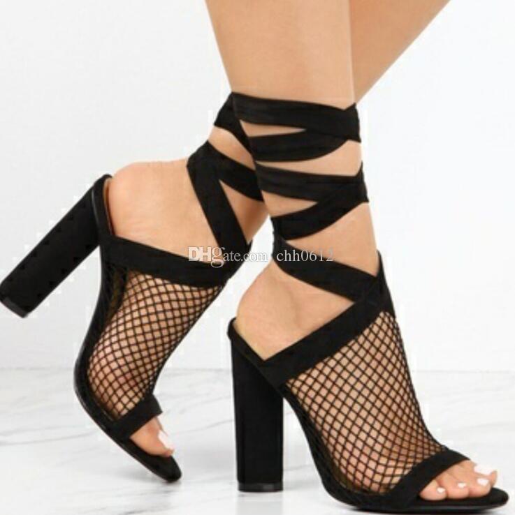 2018 Summer Sexy Bandage High Heel Thick con sandalias de mujer más el tamaño 43