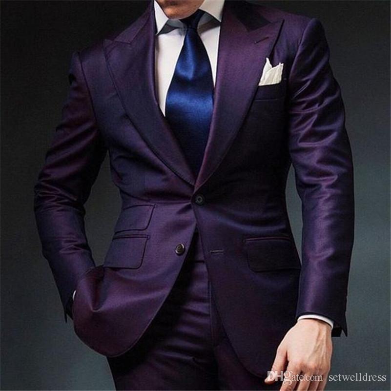 787aae0ac Two Piece Purple Mens Wedding Suits 2018 Cheap Groom Tuxedos Peaked Lapel  Custom Made Groomsmen Suit Men Prom Party Suit (Jacket+Pants)