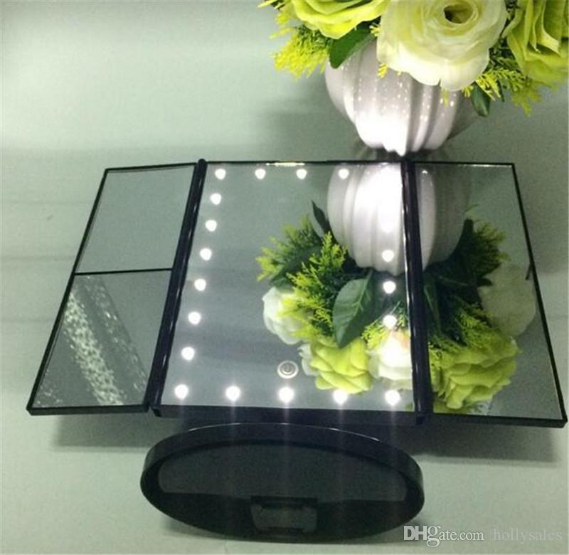 الصمام شاشة تعمل باللمس 22 ضوء ماكياج مرآة الجدول سطح المكتب ماكياج المرايا المكبرة 3 الطي قابل للتعديل مرآة DHL شحن مجاني