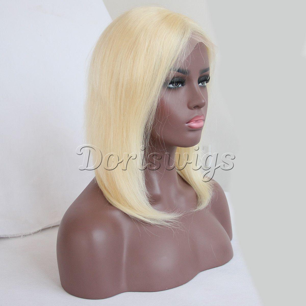 Blonde Bob Lace Front Wig Brazilian Silky Straight Short bob Human Hair Wig for Black Women 130 Density Pre-Plucked.