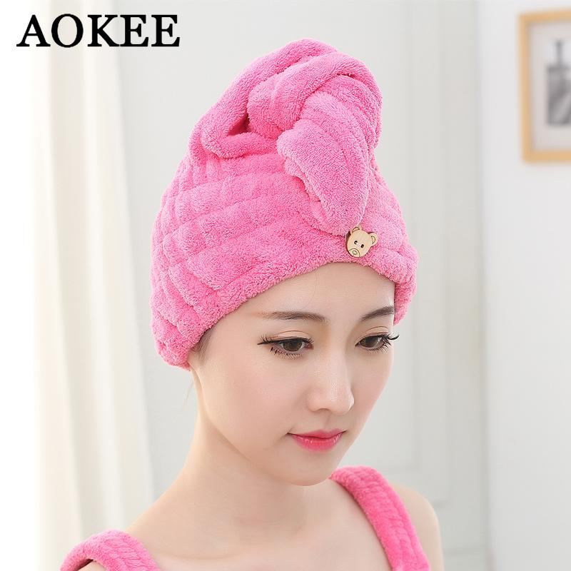 Hair Towel 1pc Womens Girls Magic Hair Drying Hat Cap Salon Towels Quick Dry Bath Textile Microfiber Fabric Hats Free Shipping