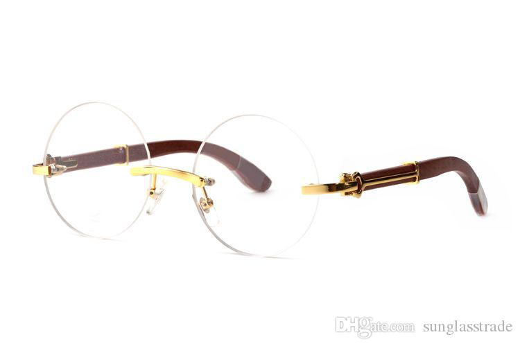 top quality Butterfly Glass Round frame Metal Lenses Metal Sunglasses retro men Round type frameless wooden heart design leg