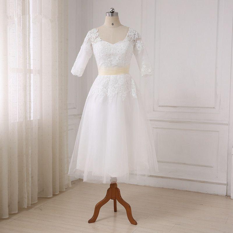 Adln Cheap Short Wedding Dress 2018 New Arrival Half Sleeves Tea