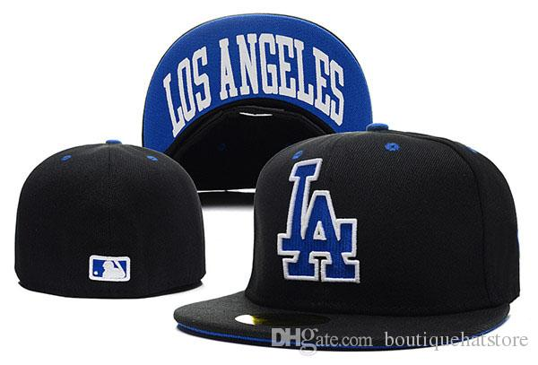 2018 New Men's Top Quality LA fitted hat flat Brim embroiered letter team logo fans baseball Hats size LA on field full closed Chapeu brands