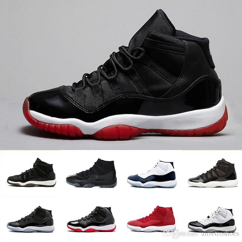 26b0f6d2b190 Air Jordan 11 XI Retro Bred Womens Mens Sports Basketball Shoes