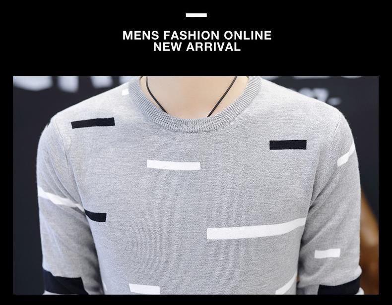 2018 nouveaux chandails à col rond hommes pull rayé mince haie de jeunes rendre vêtement supérieur sans doublure de cultiver sa moralité
