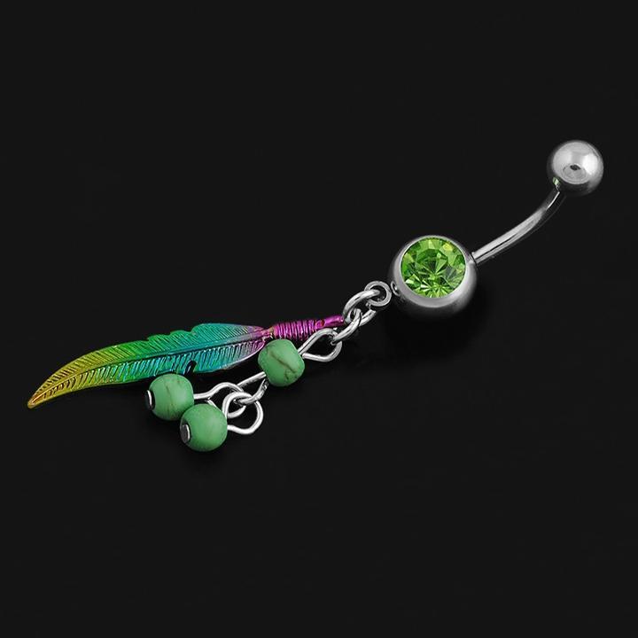 azul / verde hoja verde ombligo piercing Nombril, bola ombligo anillos Sexy barriga Piercing ombligo ombligo piercings
