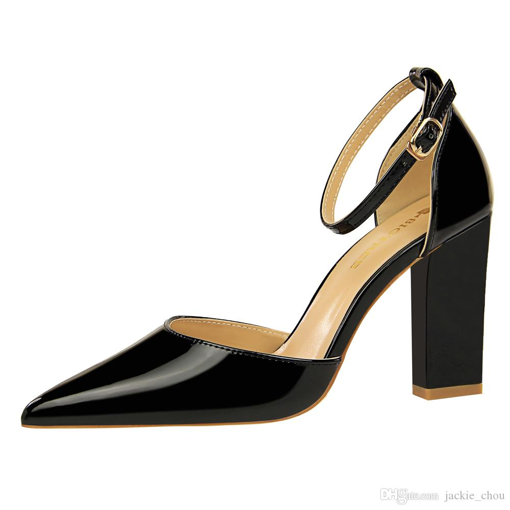56f27897d21c European Summer New Designer Patent Leather Ankle Strap Chunky High ...