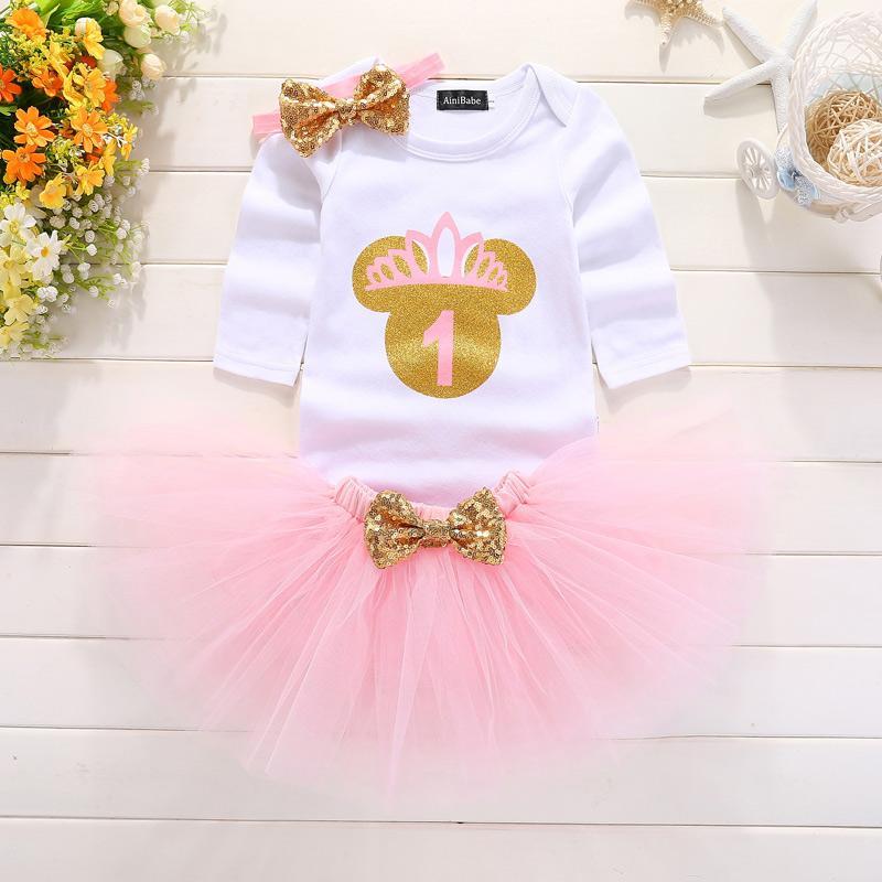 0b8b5d18a Compre Mi Pequeña Niña Primer Cumpleaños 1ro Vestido De Fiesta Trajes  Rosados lindos Del Pastel Del Tutú Vestidos Para Bebés Bebés Bautismo Ropa  0 12 M A ...