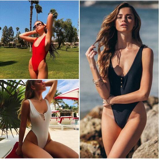 e0eeeab6edca 2019 2018 Swimwear Women Bikinis Black White Brazilian Bikinis Sexy Button  Swimsuit One Piece Swimwear Monokini Beach Bathing Suits From Dfbeauty, ...