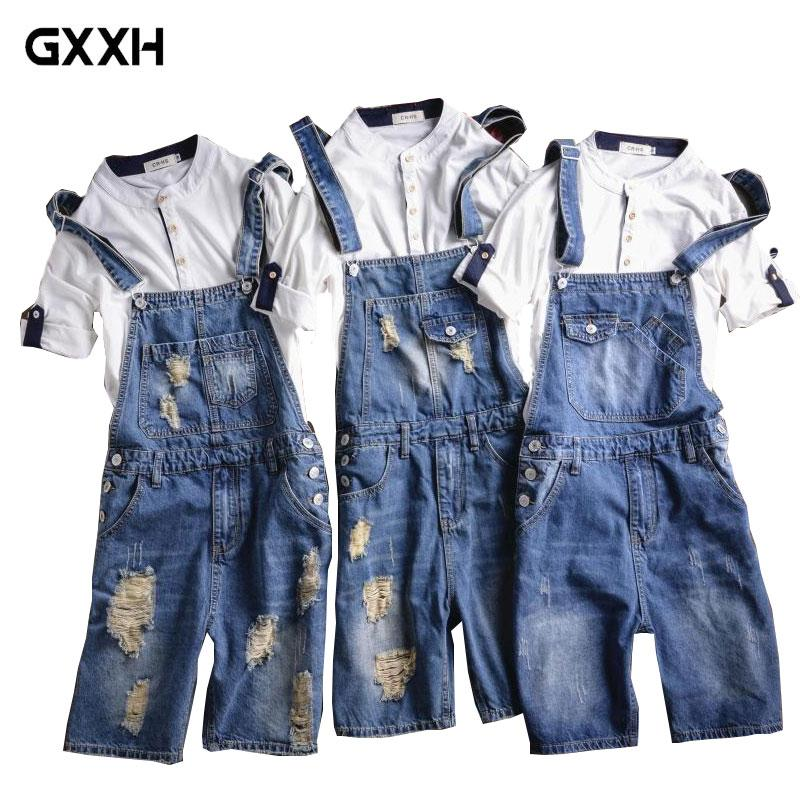 new style aa5ee eae2a Brand 2018 New Designer Men's Shorts Jeans Pants Fashion Ripped Bib  Overalls Jean Short Man Slim Fit Short Jumpsuit Size S-5XL