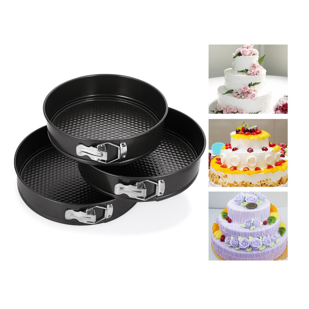 3PCS Nonstick Spring Pans Bakeware Round Shape Cake Molds Removal Bottom Bake Cooking Circle Mold Cake Decoration Baking Tools