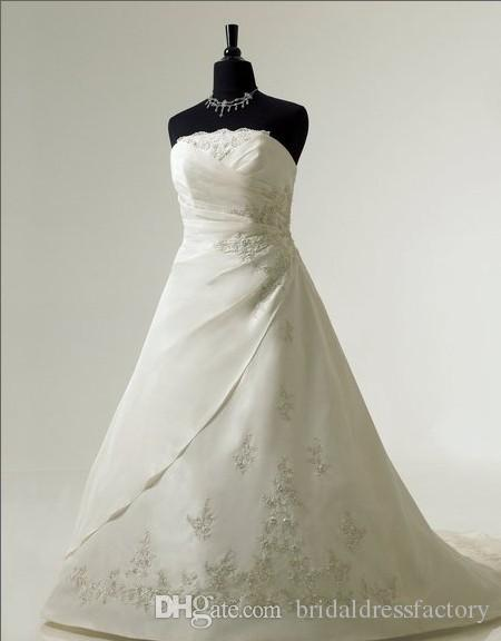 strapless thermal imager strapon A-line features lace-up closure Re-embroidered lace crystal train wedding dress