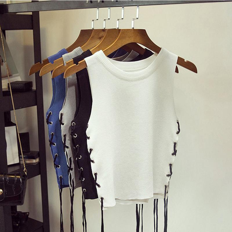 2f615d4bb559f Summer Sexy Crop Top Cropped Side Lace Up Vintage Tops Tank Bustier Tanks  Sleeveless Vest Women Shirt Elasticity Camisole Camis Online with   23.98 Piece on ...
