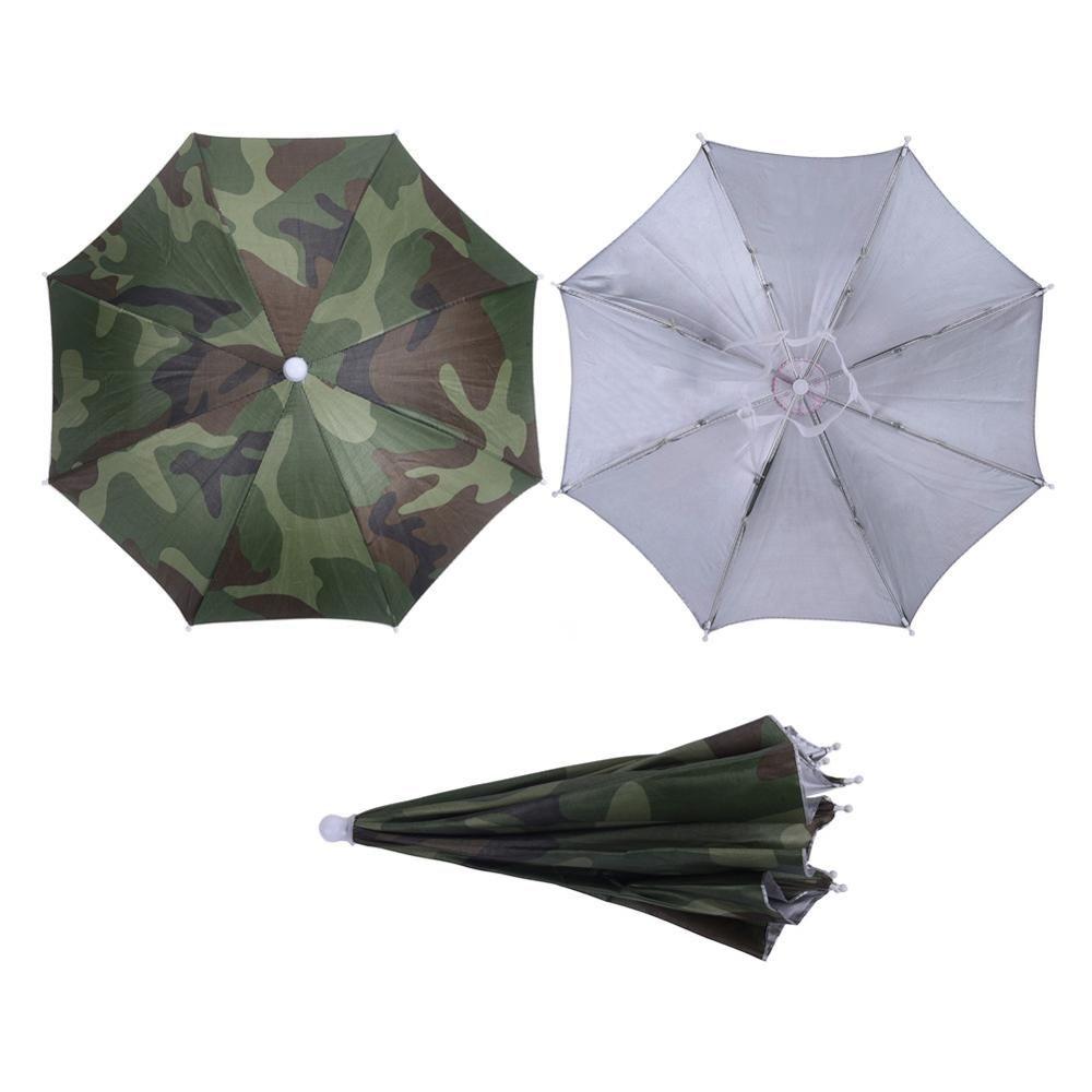 Compre Nuevo Camuflaje Plegable Headwear Sun Umbrella Pesca Senderismo  Playa Camping Headwear Cap Sombreros Cabeza Al Aire Libre Deporte Paraguas  Sombrero ... d36837656c2