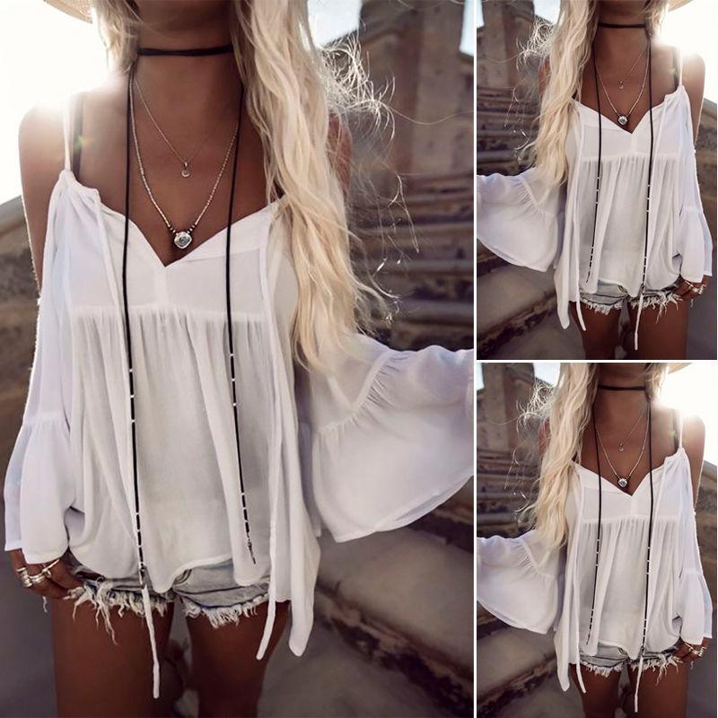 266326a0d513f New Women Summer Blouses Loose Casual Chiffon Off Shoulder Tops Blouse  Ladies Top Women Fashion New Clothes Online with  26.77 Piece on Jamie06 s  Store ...