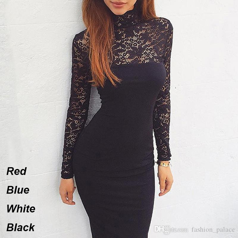 7acc27b375b Women S Sexy Lace Cocktail Party Dress Long Sleeve Mock Turtle Neck Bodycon  Midi Sheath Dress Spring Autumn Slim Casual Dresses DZF0806 Dresses Women  ...