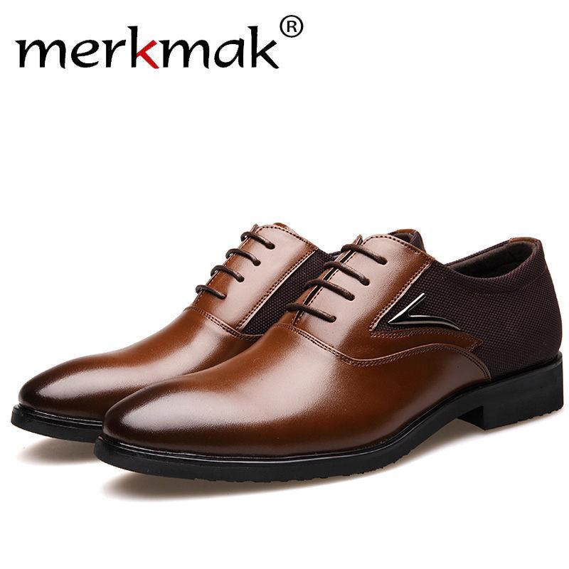10ae336fae Compre 2019 Merkmak Marca De Lujo Para Hombre Zapatos Inglaterra Tendencia  Ocio Zapatos De Cuero Transpirables Para Calzado Masculino Mocasines Hombres  ...