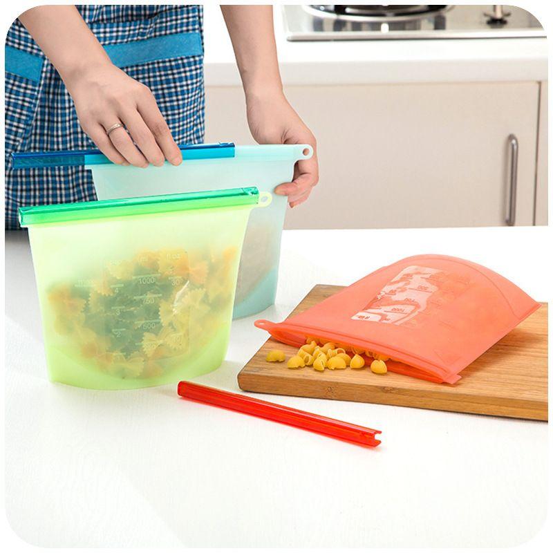 2019 Reusable Silicone Vacuum Food Fresh Bags Wraps Fridge