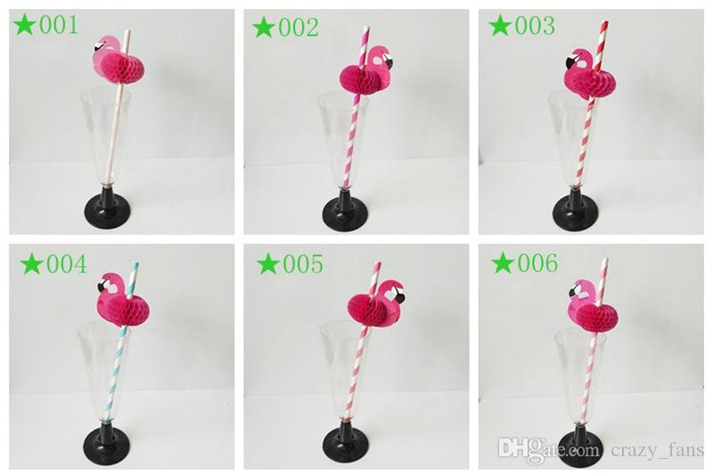 Pink Flamingo Paper Straw Disposable Cocktail Drinking Straws For Table Décor Luau Party Birthday Wedding Bar Tools For Tumbler Cups