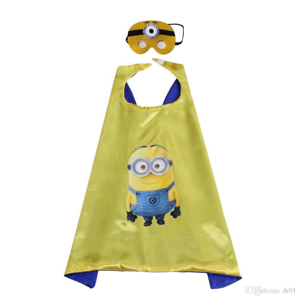 70cm * 70cm satin dyed fabric cosplay costome cartoon character play cosplay cape and mask set wholesale child favor party clothing