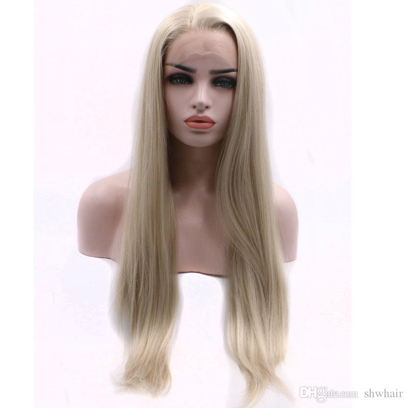 Platinum White Blonde Straight Hand Tied Synthetic Lace Front Wig