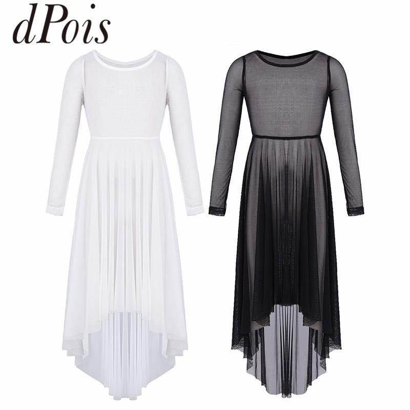 2019 Dpois Girls Mesh High Low Hem Dress Lyrical Dance Costume Girls