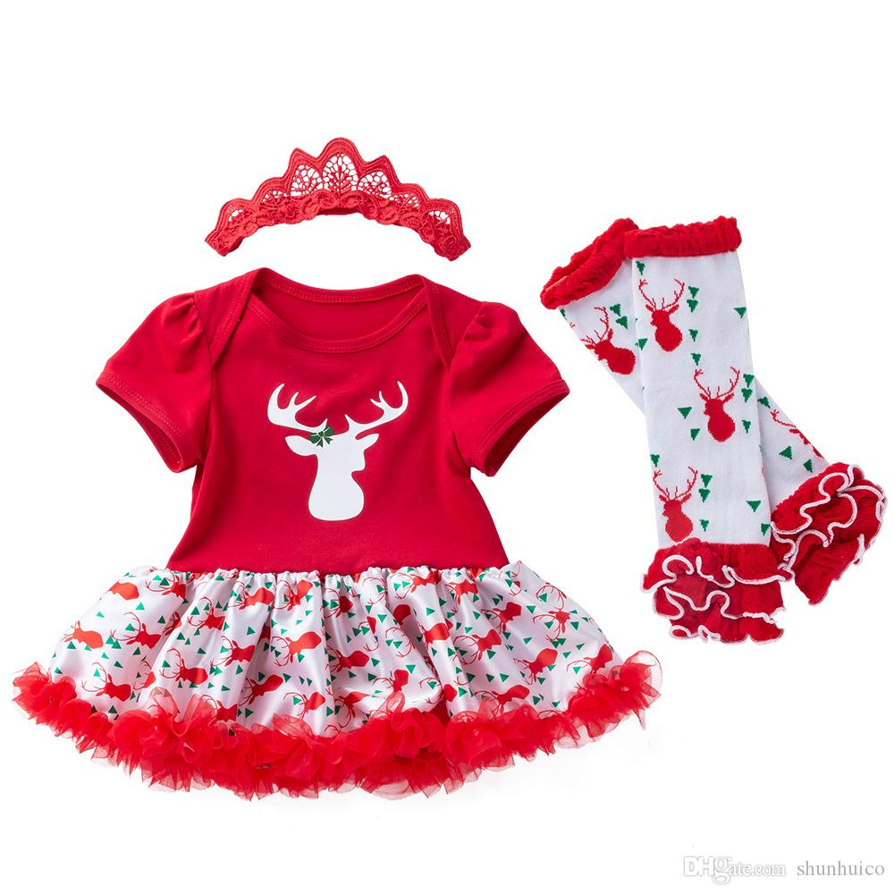 2018 newborn christmas clothes baby santa romper ruffle tutu dress leg warmers headband shoes my first xmas clothing sets from shunhuico 805 dhgatecom