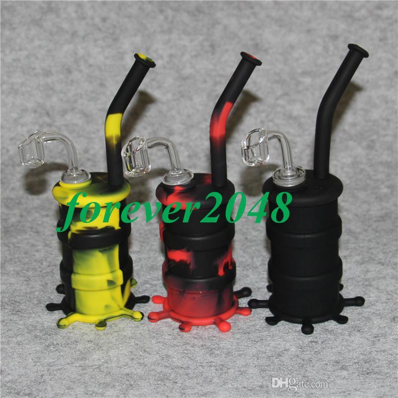 Silicon Hookah Oil Drum Rigs Mini Silicone Rigs Bong Pipa ad acqua con 4mm di spessore 14mm giunto maschio tutto chiaro chiodo al quarzo