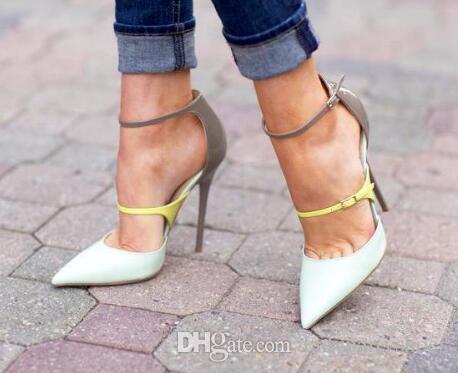 2018 Neon fibbia alla caviglia pelle patchwork Ladies Sexy tacchi alti primavera moda in pelle bianca donna pompe eleganti scarpe da festa