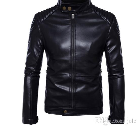 2019 News Free shipping Hot sale Fashion Slim fit Men's short leather zipper jacket Black