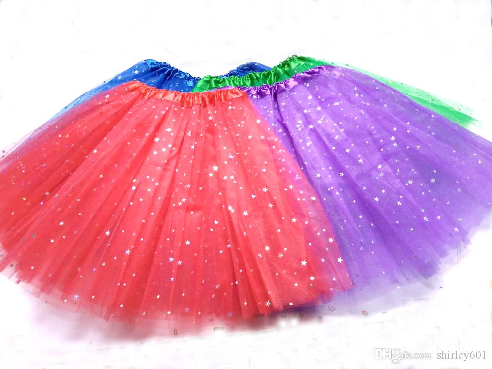 Halloween Christmas Women Tutu Skirt Star Tutus Adult Dress Up Skirt 3 layers fluffy Girls Teen Sequins Party Dancewear Tutu Pettiskirt