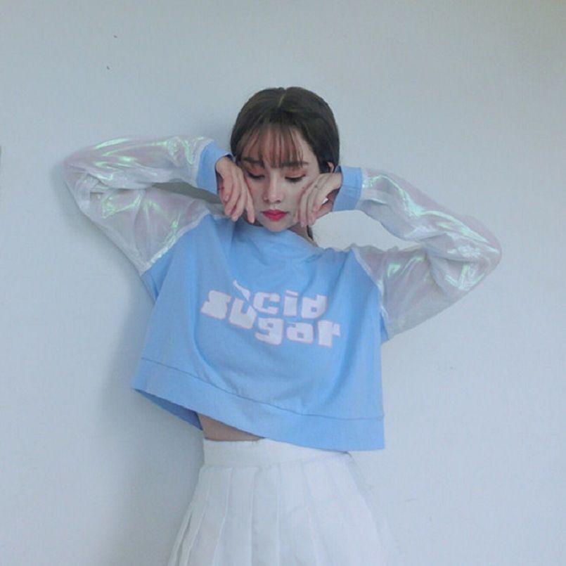 75f55a5e4d2 2018 Women S Korean Ulzzang Harajuku School Dream Stitching Short Crop T-Shirt  Female Cute Korean Kawaii Tops And Tee For Women