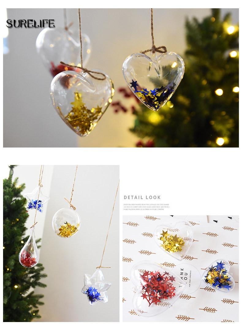 5cm Christmas Tree Decorations Transparent Ball Clear Plastic For Wedding Candy Box Favors Gift Bag New Year Top Traditional