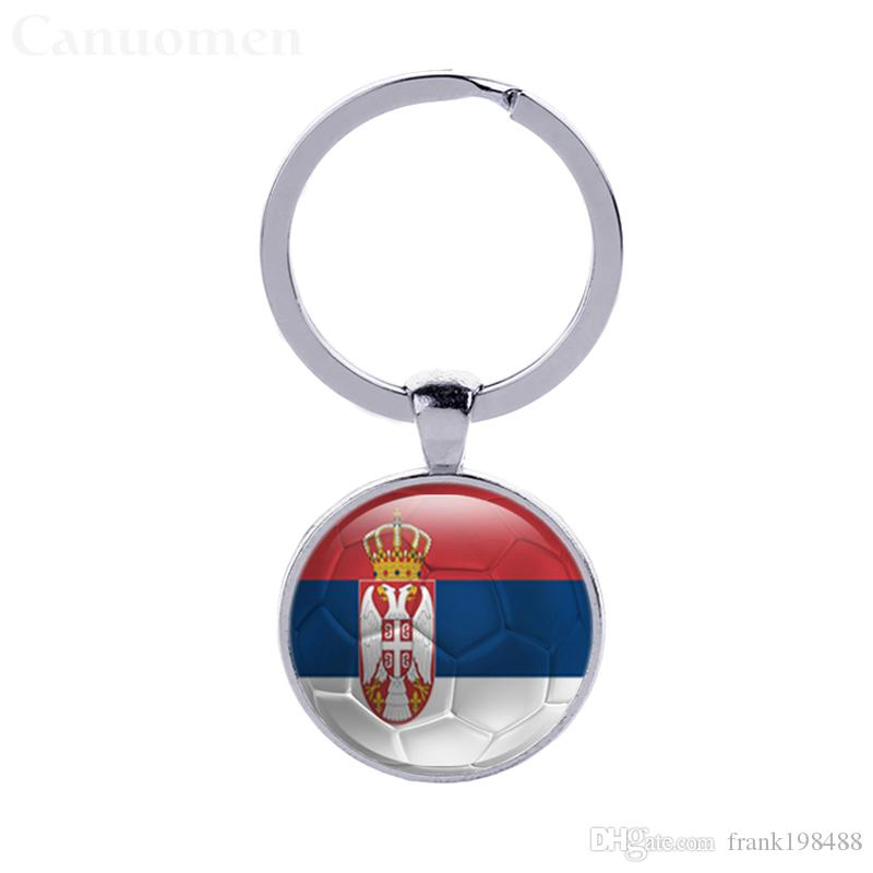 Colombia Flag Football Keychains Serbia Slovakia Glass Cabochon Car Key Accessories World Cup Countries Flags Keyrings Wholesales