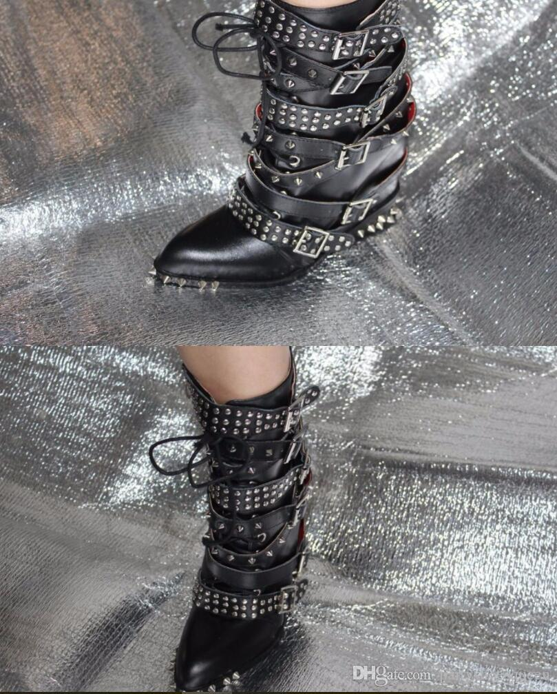 2018 new women fashion booties spike stud boots black booties tactical boots thick heel point toe motorcycles booties buckle