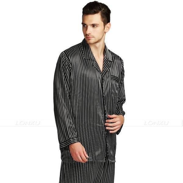 d2835ddd99 2019 Mens Silk Satin Pajamas Set Pajama Pyjamas PJS Sleepwear Set ...