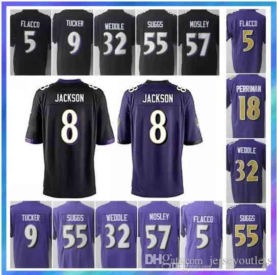 Baltimore Jerseys 8 Lamar Jackson 81 Hayden Hurst 5 Joe Flacco 32 Eric  Weddle 55 Terrell Suggs 18 Breshad Perriman Ravens Jersey UK 2019 From  Jerseyoutlets f1b20111e