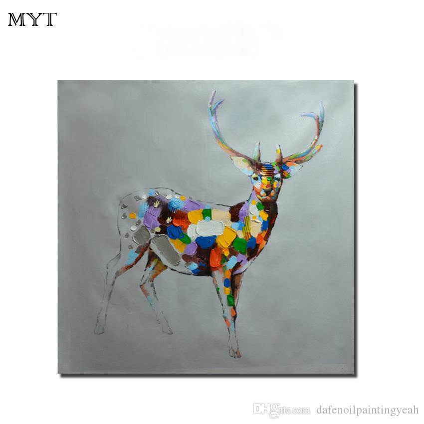 Modern Abstract Painting Canvas Wall Painting Deer Animal Handmade Oil Painting Art Home Living Room Kid Room For Sale