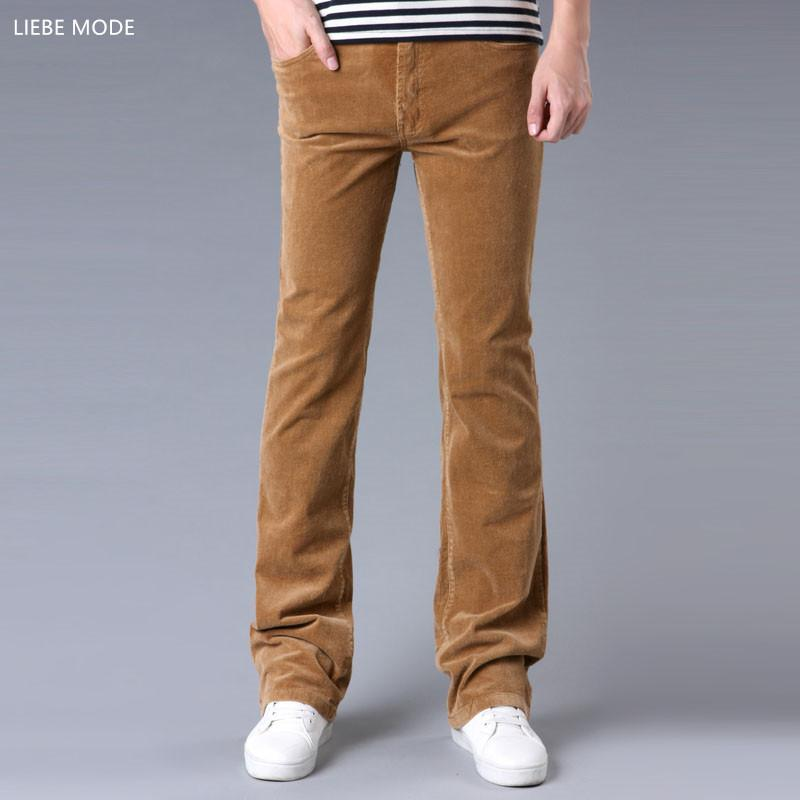 ee43ff040f1b5 2019 2017 Spring Autumn Mens Fashion Flared Corduroy Trousers Men Plus Size  Casual Bell Bottom Pants Black Red Brown Khaki Size 34 36 From Blairi