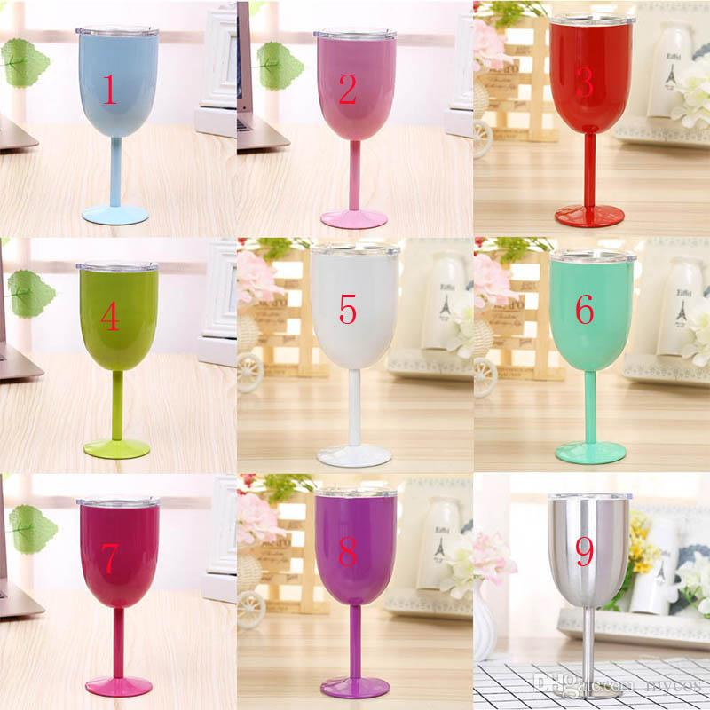 9f3a20654a7 10OZ Stainless Steel Wine Glasses Goblet Double Wall Vacuum Insulation Mugs  Outdoor Car Cups With Lids Large Custom Mugs Large Glass Coffee Mugs From  Mycos, ...