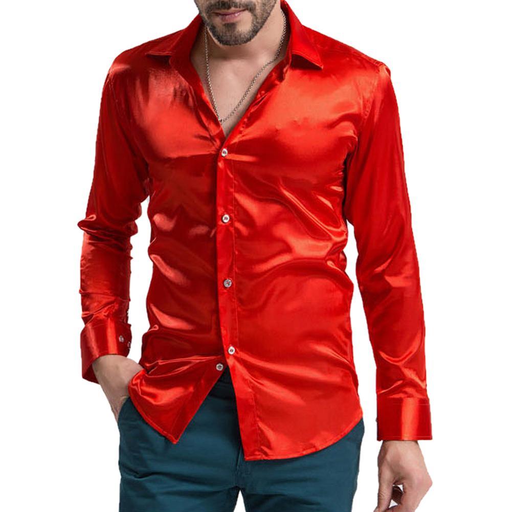 Compre Ocio Ropa De Hombre De Alta Calidad Emulación De Seda Camisas De  Manga Larga Camisa Casual Para Hombres Satinado Brillante Blanco Rosado  Beige Plata ... 2cfd506f83e