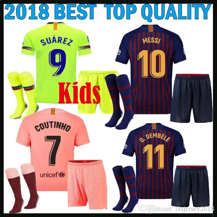 Compre Kit Infantil 2018 2019 Barcelona Fuera De Fútbol Tercer Jersey  Jersey MESSI SUAREZ Dembele Futbo COUTINHO 18 19 Camiseta De Fútbol De Casa  Para Niños ... 319d843b64211