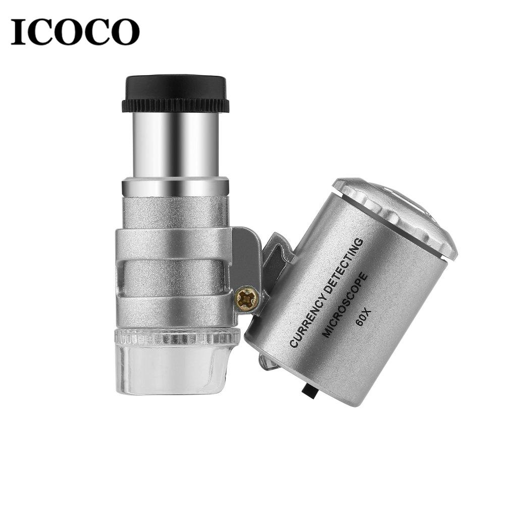 ICOCO Mini Portable 60X Currency Detecting Microscope Handheld Money Tester  Magnifier Loupe Glass LED Light UV Microscope Sale
