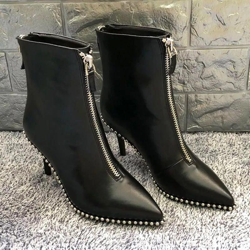 HZXINLIVE Luxury Brand Designer Studded Ankle Boots For Women Sexy Rivet  Pointed Toe Women Boots Stiletto Punk Boots Shoes Woman Red Boots High Heel  Boots ... 5e0d34098226