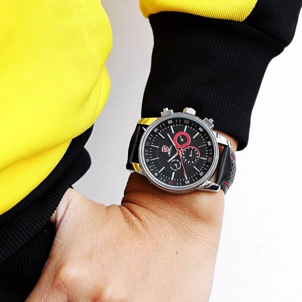 3a321a74001f Compre Reloj Deportivo De Cuero De Lujo Shark Reloj Negro Correa Reloj  Hombre Day Calendario Reloj Relogio Masculino Hombre De Cuarzo Relojes De  Pulsera ...