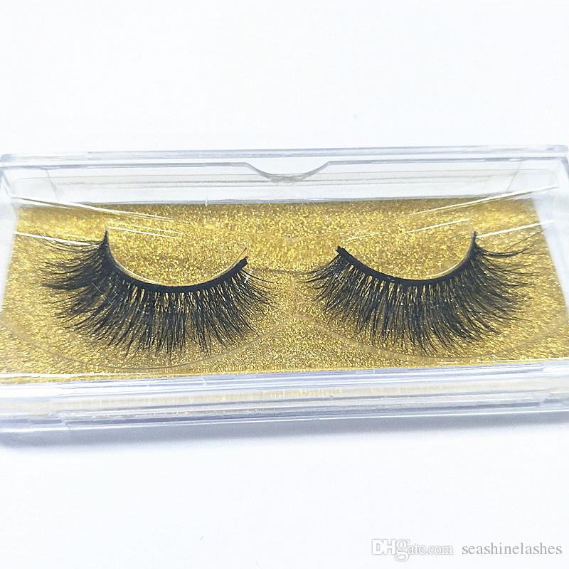2018 Seashine Wholesale Women Makeup 100% Real Mink Thick 3D False Eyelashes Popular Messy Nature Eye Lashes Black Handmade Lashes