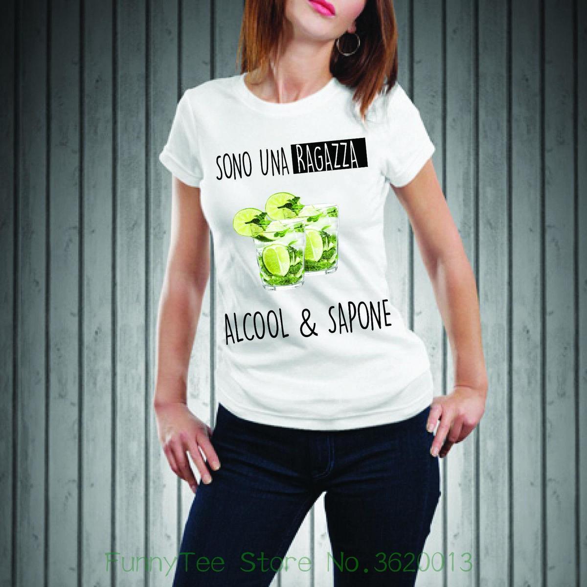 4c48286503 Women'S Tee T Shirt T Shirt Donna Happiness Divertente Mojito Ragazza  Alcool E Sapone Punk Harajuku Unicorn Brand Tops Tee Cotton T Shirts Fitted  Shirts ...