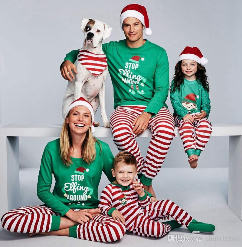 c87a62e1e5b1 Family Christmas Pajamas Set Family Matching Pyjamas Sets Father Son Mom  Daughter Pajamas Xmas Sleepwear STOP Elfing AROUND Printed DHW1782 Family  ...