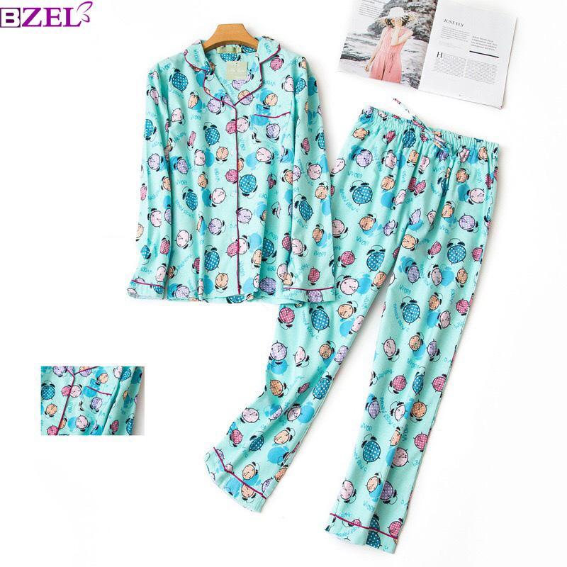 239575fee2fe 2019 Cute Cartoon Cotton Pyjamas Women Pajamas Sets Autumn Animal 100%  Brushed Cotton Women Sleepwear Floral Prints Pijamas Mujer From Amaryllier